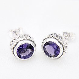 Wholesale Vintage Sterling Amethyst - 5Pieces lot Holiday Gift 925 Sterling Silver New Arrival Vintage amethyst earrings Russia American Australia Wedding earring