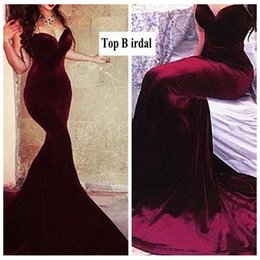 Wholesale Oriental Pictures - 2016 Sexy Sweetheart Burgundy Mermaid Prom Dresses Velvet Slim robe oriental arabe rouge Sexy resmi gece elbisesi Evening Dress