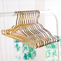Wholesale Hand Garments - Metal Hangers Adult Suit Thickening Shelf Clothes Drying Racks Anti Skidding Curve Design Coat Hanger Seamless Rose Gold Rack