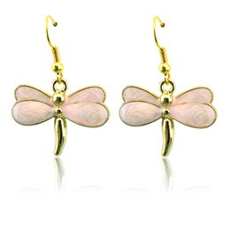 Wholesale Color Dragonfly Charms - Fashion Gold Plated Charms Earrings Stainless Steel Dangle 4 Color Enamel Dragonfly Pendants Earrings For Women Jewelry