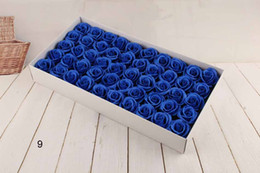 Wholesale Light Blue Artificial Roses Wedding - New Year Soap Flower 6cm Artificial Roses High Grade 50PCS Box-packed Romantic Valentine's Day Gift Wedding Flowers Free ship