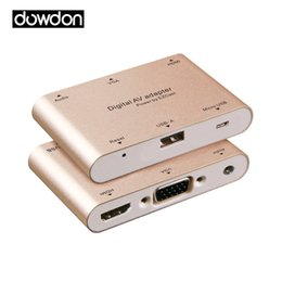 Wholesale Blister Shell - Aluminum Shell HD Digital AV Adapter USB to VGA HDMI Audio Support Dual Display for iOS