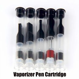 Wholesale Tube Ecig - eCig 510 Wax Glass Oil Ceramic Cartridge Wickless Tank .5 .8 1 ml Thick Oil Open Vape Pen Empty Atomizer in Plastic Tube