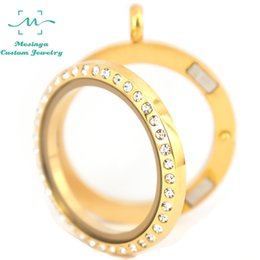 Wholesale Gold Color Locket - 10pcs magnet 316L stainless steel IP GOLD COLOR 30mm crystal glass locket pendant necklace for floating charms