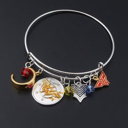 Wholesale Wonder Woman Wholesale - Luxury Brand Design Bracelets Bangle With Wonder Woman Charms Bracelet Jewelry For Women Adjustable Fine Jewelry
