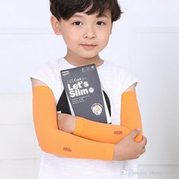 Wholesale Comfort Arm - Children ice sleeves Let's slim Uv Sleeves Gloves Fashion Ice Silk Long Cycling Sleeve And Cuff Arm Protection Comfort