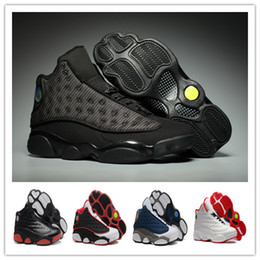 Wholesale Cats Shoes Woman - With Box 2017 BLACK CAT Retro 13 Basketball Shoes Men Women Basketball Shoes 13s DMP Grey Toe History Of Flight All Star Sneakers With Box