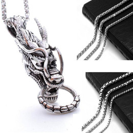 Wholesale Girls Dragon Jewelry - Wholesale Vintage Winged Dragon Pendant Necklace with chain For Girl Boy Stainless Steel No Fade Jewelry