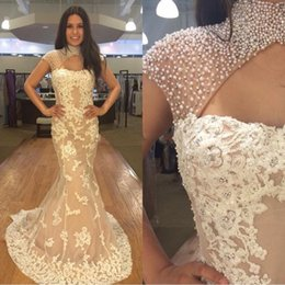 Wholesale Short Overlay Dress Prom - Luxury Champagne White Evening Dresses Mermaid 2016 High Neck Overlay Skirt Arabic Cap Sleeves Prom Formal Dress Red Carpet Pageant Gown