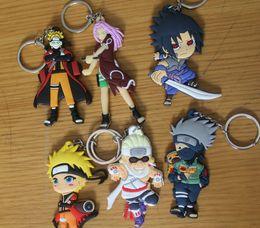 Wholesale one piece pendant - One Piece Naruto Figure Toys Anime Naruto Character Naruto Uzumaki Sasuke PVC Keychain Keyrings Pendant Toy 2 Sides