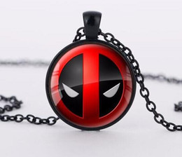 Wholesale Bronze Red Heart Necklace - Deadpool Convex Glass Cabochon Necklace Silver Hold Bronze Glass Time Gemstone Necklaces Fashion Jewelry for Women Men Kids Toy-B33