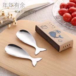 Wholesale Ice Fishing Spoons - Two Pieces Packed Creative Cute Fish Shape Stainless Steel 304 Yogurt Spoon Ice Cream Spoon Pudding Spoon