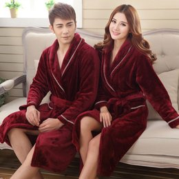 Wholesale Couple S Pajamas - Wholesale- Winter Women thick Flannel Bathrobe Traditional Bath Robes High Quality Women sleepwear homewear Couple lounges pajamas 102704