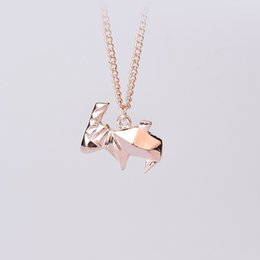 Wholesale Friends Sweater - Minimalist Origami Rabbit Pendant Necklace For Women Silver Creative Sweater Chain Gift For Men Friend Pet Animal Cool Jewelry