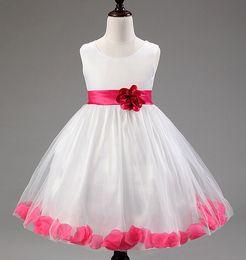 Wholesale Little Girls Ballgown Dresses - wedding dresses for little girl rose petals flower girls dresses bridesmaid princess dress ballgown vestidos pricesa