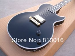 Wholesale Electric Guitar Hardware - Custom Limited Run 1958 Reissue Single Pickup Black Electric Guitar Mahonay Body Ebony Fingerboard Gold Hardware Block Pearl Inlay