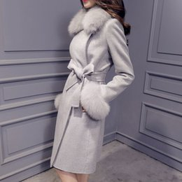 Wholesale Bow Wool Coat - Large Fox Fur Collar Wool Cashmere Coat Autumn Winter New Slim Long Women Coat 3 Color Plus Size Casaco Feminino AW0307