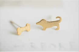 Wholesale Plated Food - 10 piece - S044 fashion jewelry new dog bone and 18 k gold earrings cute animals and food bolt after women earrings jewelry