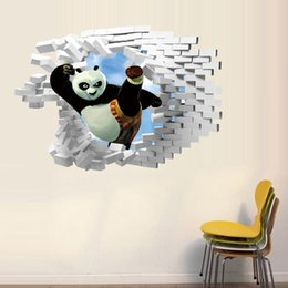 Wholesale Kindergarten Wall Murals - DHL 2016 new Kung Fu Panda 3D stereoscopic wall kindergartens wall stickers children's room decorative wall stickers 50*70cm E608