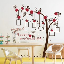 Wholesale Framed Chinese Flowers Art - Wholesale Red Flower Photo Frame Tree Wall Stickers Bedroom Living Room TV Backdrop Decoration PVC Wall Decor Waterproof Removable Wallpaper