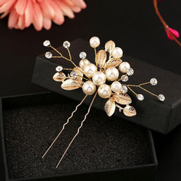 Wholesale Vintage Mexican Copper - 6 PCS Gold Color Flower Leaf U shape Hair Sticks Pearl Clip Vintage Hair Pins Wedding Accessories Crystal Bridal Head piece