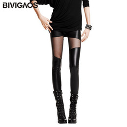 Wholesale Leggings Slim Thighs - New Fashion Women's Slim Sexy Thigh Black Transparent Mesh Gauze Splicing Faux Leather Leggings Elastic Pencil Pants For Women