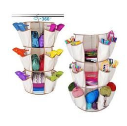 Wholesale Shoe Handbag Wholesalers - 3-Tiers Multi Pocket Hanging Smart Carousel Organizer Shoe Rack Handbag Storage Bag Organizer Holder Hosekeeping Accessories CCA7721 100pcs