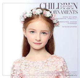 Wholesale Girl Children Flower Crown - 2016 Children Girls Handmade Flower Wreath Crown Garland Halo for Wedding Festivals Accessories Boho Floral Crown