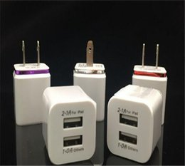 Wholesale Dual Usb Wall Chargers - Metal Dual USB wall US plug 2.1A AC Power Adapter Wall Charger Plug 2 port for iphone 8 X samsung galaxy note LG