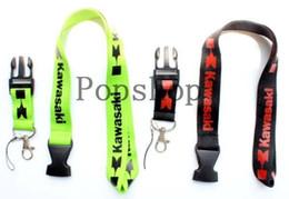 Wholesale Kawasaki Key - Hot ! New 40Pcs kawasaki 2 colors Style Motorcycle Key chain lanyard mobile Phone Strap Charm ID holder Gift Free shipping