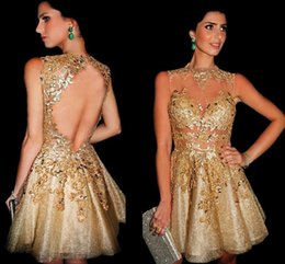 Wholesale Mini Pick Up Dress - High Neck Short Mini Gold Homecoming Dresses Sexy Illusion Bodices Lace Appliques Cocktail Dresses Crystal Beaded Open Back Party Gowns