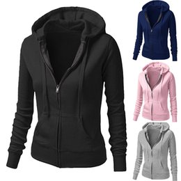 Wholesale Solid Womens Sweatshirts - Womens Ladies Plain Girls Pocket Hoody Zip Up Tops Girls Drawstring Hoodies Sportwear Sweatshirt Hooded Jackets Coat Outwear