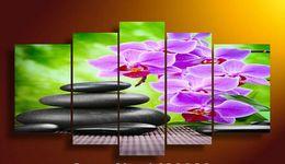 Óleo, pinturas, lona, orquídeas on-line-Emoldurado 5 Painel Wall Art Moth orquídea Pintura A Óleo Sobre Tela Texturizada Abstrata Pinturas Fotos Decoração paisagismo pinturas