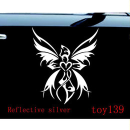 Wholesale Christian Stickers - CUTE CHRISTIAN VINYL funny CAR TRUCK WINDOW STICKER DECAL FAIRY CROSS BUTTERFLY WINGS sticker  reflective silver