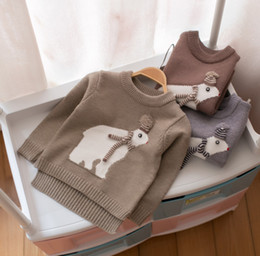 Wholesale jumper baby animal - Toddler knitted sweater winter baby boys girls cute big winter bears knitting pullover kids cartoon animal jumper Age for 1-3 Years R0225