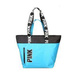 Wholesale Love Dresses - Women Love Pink Shoulder Bags Handbags Travel Duffle Striped Waterproof Beach Bag Best Gift