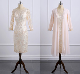 Wholesale Plus Size Fall Wedding Jacket - Champagne Lace Knee-Length Mother Of The Bride Dresses With Jacket Appliques Plus Size Long Sleeve Wedding Guest Dress Formal Evening Gowns