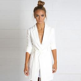 mujeres blazer blanco con muesca de damas de manga larga chaqueta blazer elegante oficina de blazer de otoo con mujeres trajes de chaqueta para mujer