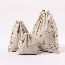Wholesale Wholesale Aluminum Boats - Wholesale- New Natural Cotton Linen Travelling Clothing Sorted Pouch String Closure Multi-purpose Bag Print Boat Size-choosing N247