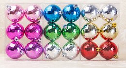 Wholesale Hot Pink Christmas Tree Ornaments - Colorful Christmas ball Ornament 3 Design Hot Pink Green Red Golden Mall Home Tree Decoration Party Supplies 32boxes