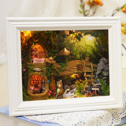 Wholesale Toy Miniatures For Sale - Wholesale- Hot Sale Diy House for Puppenhaus Photo Frame Girl Brithday Miniature Furniture House Model Building Toys-JHZQW071