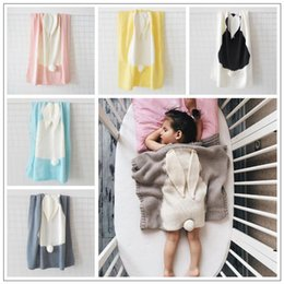 Wholesale animal ears - 5 Colors 73*108cm Baby Blankets INS Rabbit Ear Swaddling Knitted Animal Bedding Toddler Fashion Swaddle Newborn Bunny Blanket CCA7940 20pcs