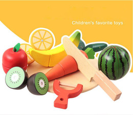 Wholesale Wood Play Food - Wooden Kitchen Toys Cutting Fruit Vegetable Play miniature Food Kids Wooden baby early education food toys
