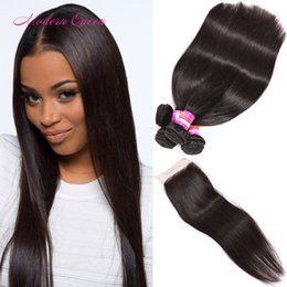 Wholesale Nice Silk - Modern Queen Malaysian Silk Straight Human Hair Wefts 4 Bundles With Lace Closure Nice Malaysian Straight Sew Weaving Hair Extension Bundles