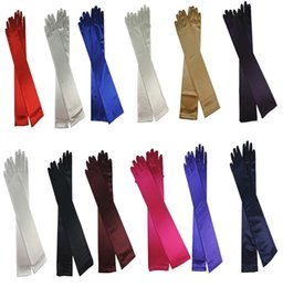 Wholesale Long Ivory Wedding Gloves - In Stock White Black Colorful Satin Bridal Gloves Evening Golves Opera Long Gloves Wedding Gloves for Formal Ladies Stretch Full Finger