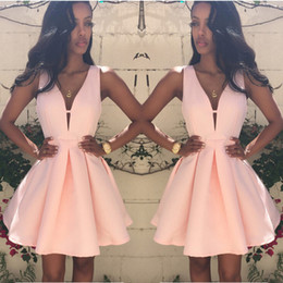 Wholesale Trendy Club Clothes - New 2016 Pink Sexy A-Line Party Dresses Women Dark V Sleeveless Pleated Zipper Slim Trendy Fashion Summer Clothing Plus Size S-3XL