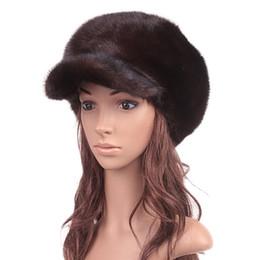 Wholesale Ear Protector Hats - Wholesale-Russian Real Mink Fur Visor Hats Autumn Winter Genuine Women Fur Caps Female Headgear Ear Protector 1057