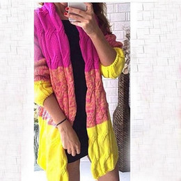Wholesale Women Long Colorful Cardigans - Wholesale- Free Shipping Spring Winter Autumn Women Sweater Cardigans Patchwork Long Thicken Colorful Shiny Coat
