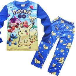 Wholesale Cotton Red Pajamas For Kids - 2016 Poke mon Pikachu Pajamas Suit Kids Girls Boys Sleeper Poke mon Go Nightwear Kids Tracksuit Clothing Set For Autumn