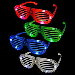 Wholesale New Years Led Glasses - Shutters LED Glow glasses concert cheer Halloween props dance Fluorescence luminous glasses Led Toy Christmas gifts